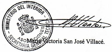 Sello Ministerio del Interior, Firma María Victoria san José Villacé.