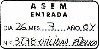 Sello de Registro de Entrada ASEM, 26 del 7 del 2004.Nº 3278-UTILIDAD PÚBLICA